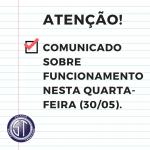 ATENÇÃO! CST TERÁ AULAS NESTA QUARTA-FEIRA (30/05).