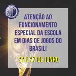 Atenção aos horários especiais de aulas em dias de jogos do Brasil!